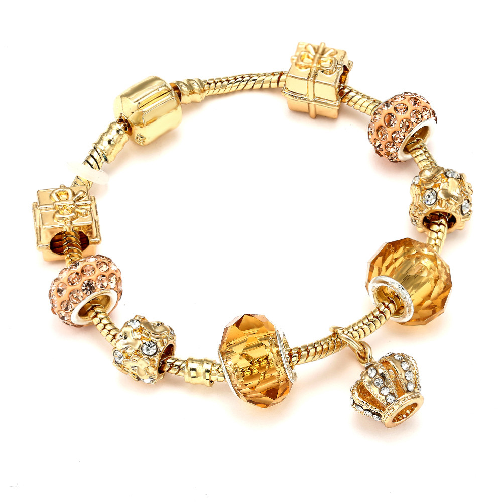CUTEECO Crystal Crown Charm Bracelet For Women Gold Color Brand Bracelets Bangles Female Jewelry Gift Dropshipping