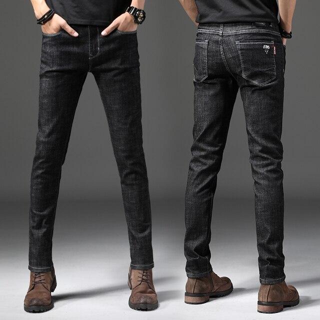 34aa47b1ee5c Nowe Mody Mężczyźni Dżinsy 2018 Slim Fit Proste Czarne Spodnie Skinny Jeans  Men Business Denim Spodnie