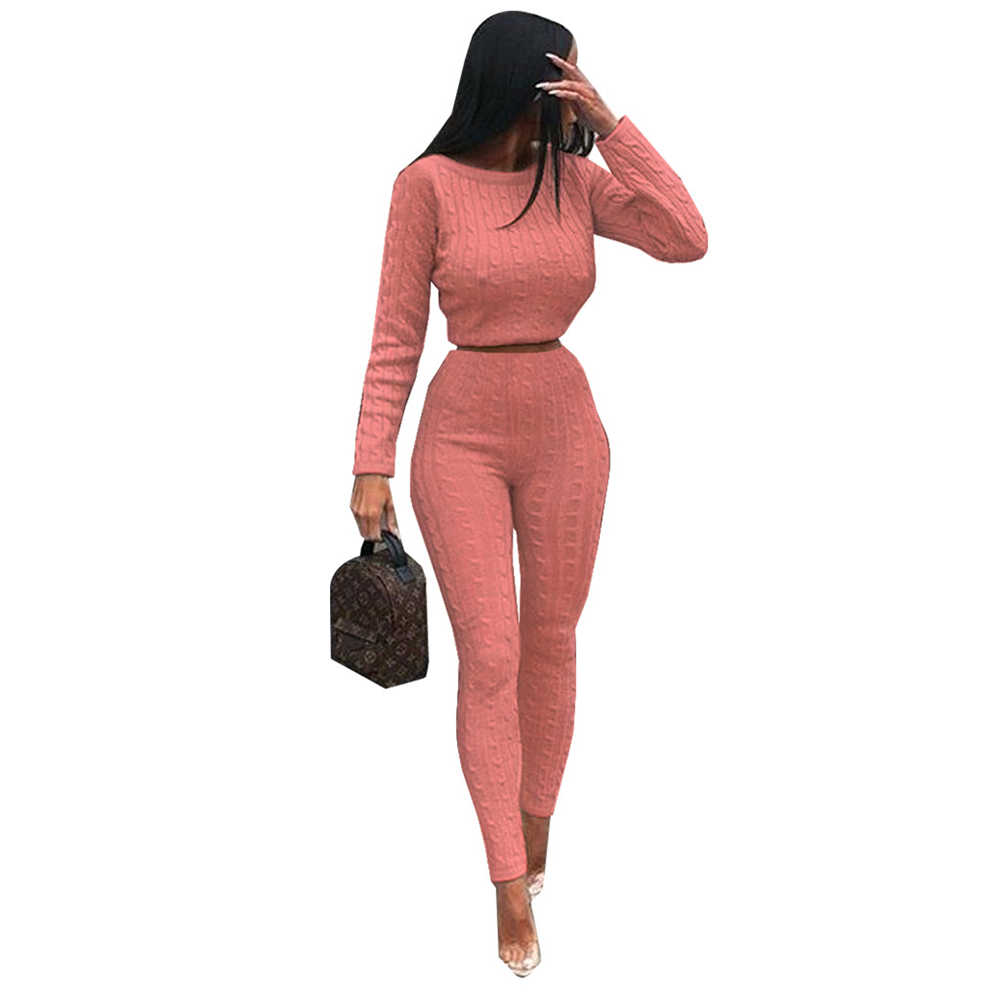 2 Piece Set Womens Winter Warm Solid Ladies Off Shoulder Cable Knitted Loungewear Suit Set Outfits Ensemble Femme 2018