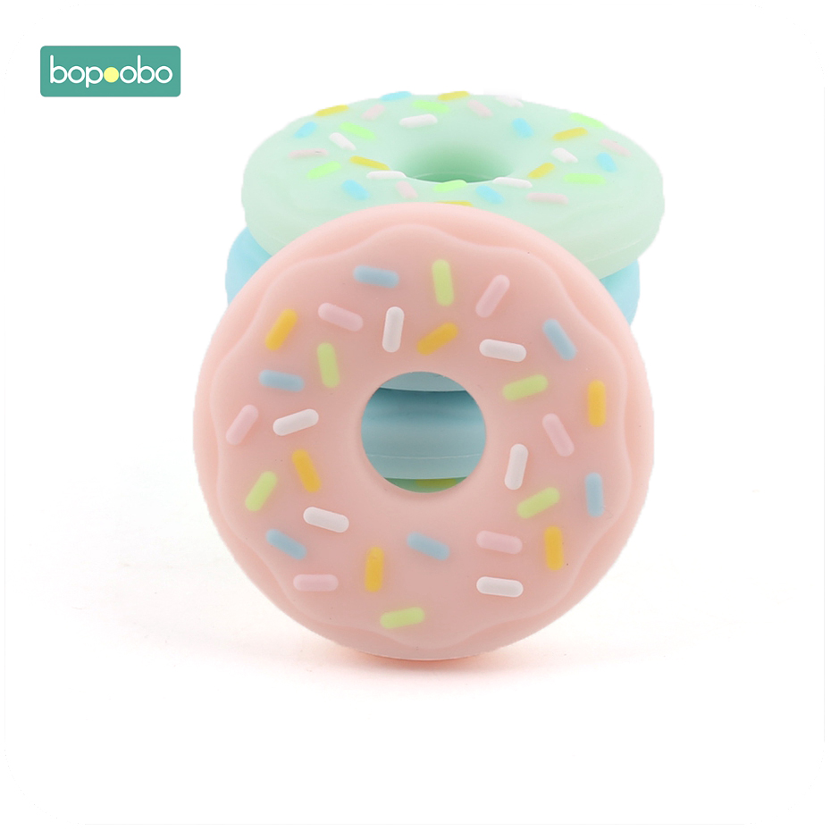 Bopoobo 1pc Baby Nursing Accessories Chewing Silicone Donuts Crib Sensory Toys DIY Jewelry Teething Accessories Baby Teether