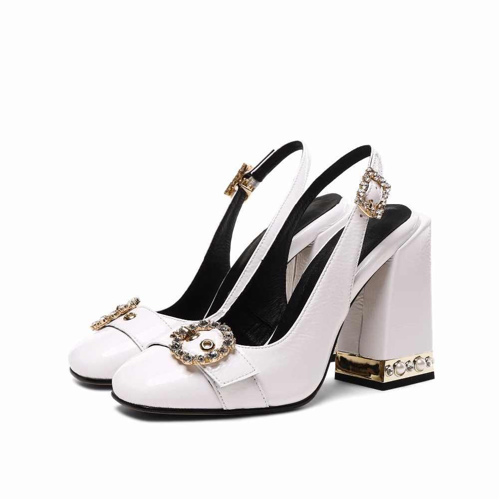 823b144826 2019 fashion shallow high heels women sandals buckle strap office lady  elegant pearl solid crystal nightclub wedding shoes L8f1