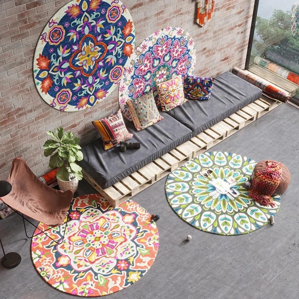 tapis de tapis rond boheme pour chambre mandala ethnique motif floral pour salon chambre d enfant tapis de yoga decoration de sol