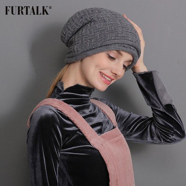 FURTALK Women Winter Wool Hat Warm Double Lining Beret Slouch Russian Winter Hat