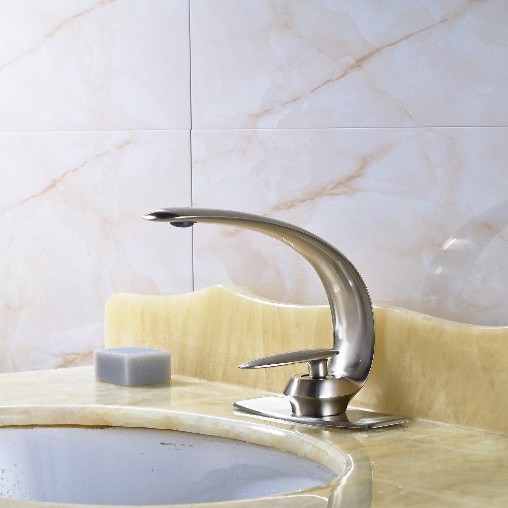Modern Nickel Brushed Bathroom Basin Faucet Single Handle Mixer Tap 4