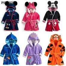 Children Pajamas Bathrobe baby boy / girl dressing gown flannel nightgown kids winter sleepwear hooded robe Cartoon Minnie tiger