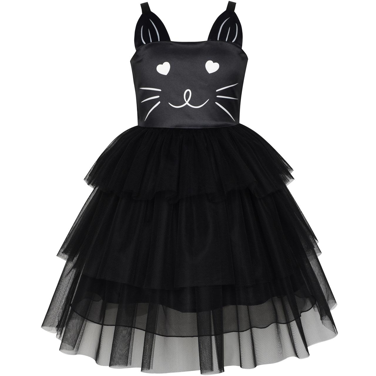 Girls Dress Cat Face Black Tower Ruffle Dancing Party 2018 Summer Princess Wedding Dresses Girl Clothes Size 4-10 Pageant цена 2017