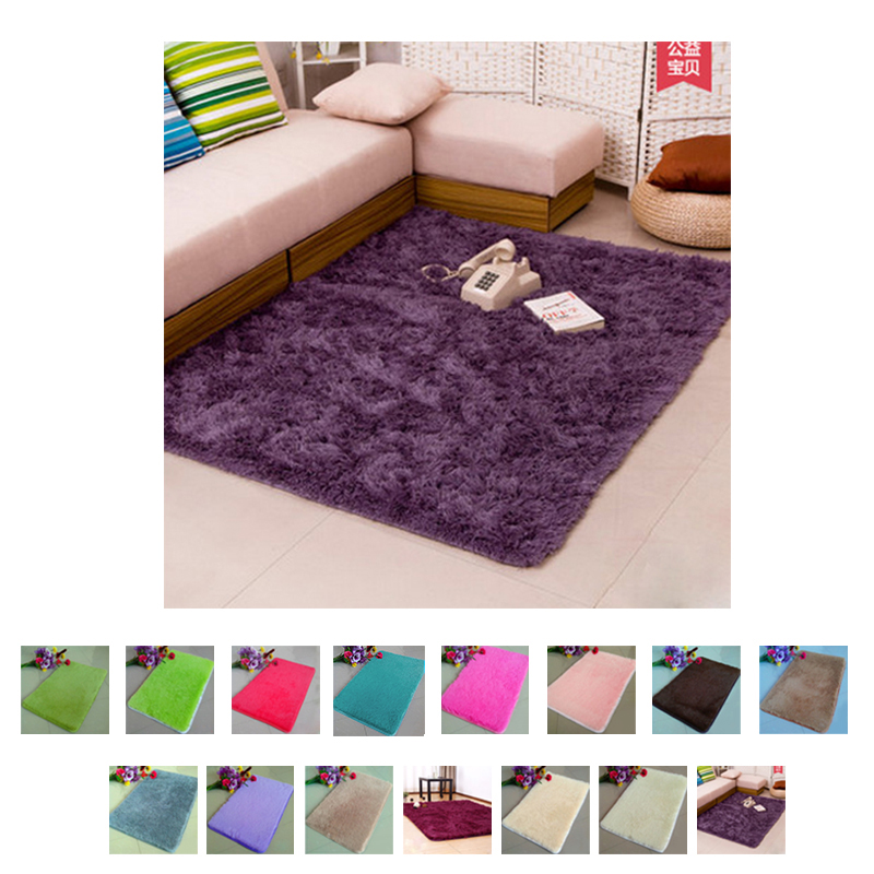 Pleuche Non-slip Bedroom Door Dustproof Plush Bath Floor Mat 50x80cm Floor Mat For Room image