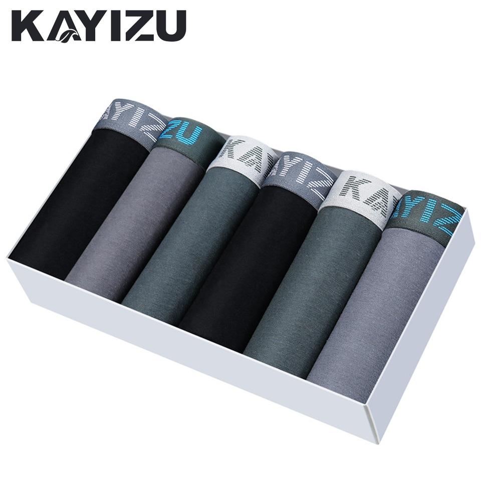 KAYIZU 6pcs/lot Men Underwear Soft Cotton Boxers Shorts Mens Underpants Solid Male Panties Cuecas Boxer Men Underwears Lot