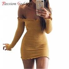 Новинка 2017 года плюс Размеры осень Для женщин Сексуальная Bodycon платье без бретелек с длинным рукавом Вышивка Крестом Пакет бедра короткие трикотажные Платья-свитеры Vestidos