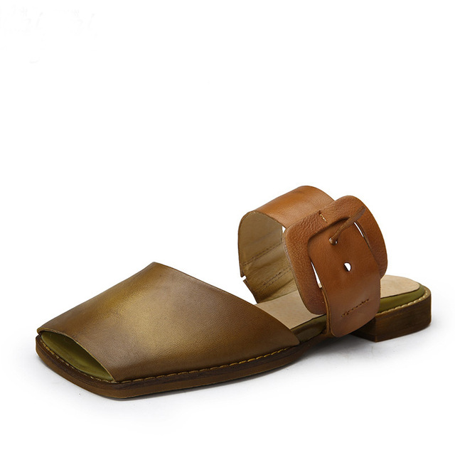 Leather square head open toe sandals