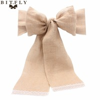 2017 New 18x275cm Vintage Lace Burlap Wedding Chair Sashes Natural Jute Burlap Ribbon For Wedding Decoration