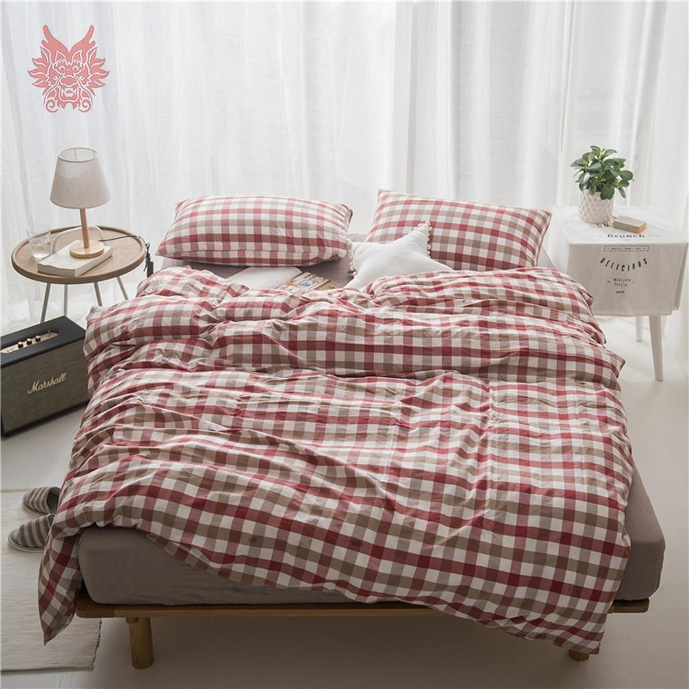 Chic Blue Beige Cotton Linen Plaid Curtains For Boys Bedroom: Japan Style Cotton Bedding Set Red Green Blue Plaid Duvet