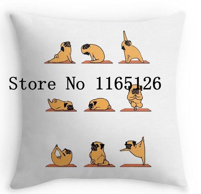 Cool Yoga Pug Dog Funny Cute Gym Tumblr Durable Square Pillowcase