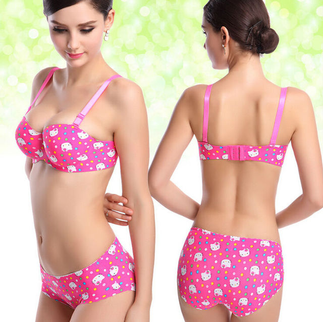242dde319 Women Bra Set Plus Size Hello Kitty Bra Set Brand Underwear Set Push Up  Sexy Seamless One-Piece Women Bra And Panties Set KI0037