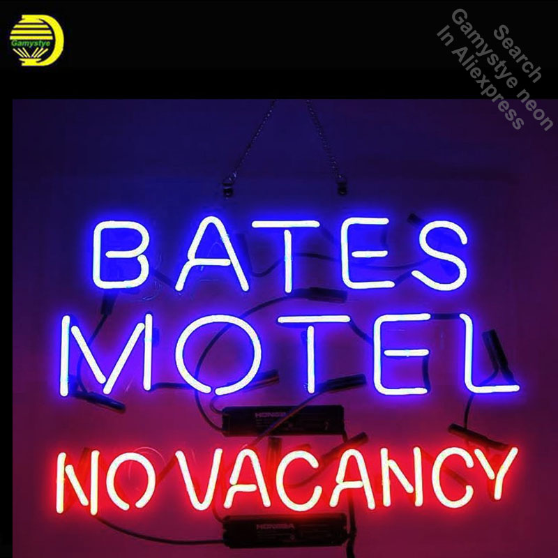 Bates Motel No Vacancy Neon Sign neon bulb Sign neon lights for Beer Pub Sign glass Tube Handcraft Iconic Sign Display light up