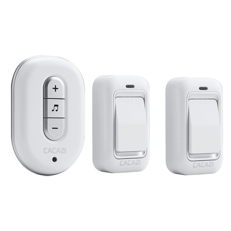 CACAZI Wireless DoorBell No Battery Need Waterproof smart Door Bell Cordless 120M Remote AC 110V-220V 2 transmitters+1 Receiver cacazi wireless cordless doorbell remote door bell chime one button and two receivers no need battery waterproof eu us uk plug