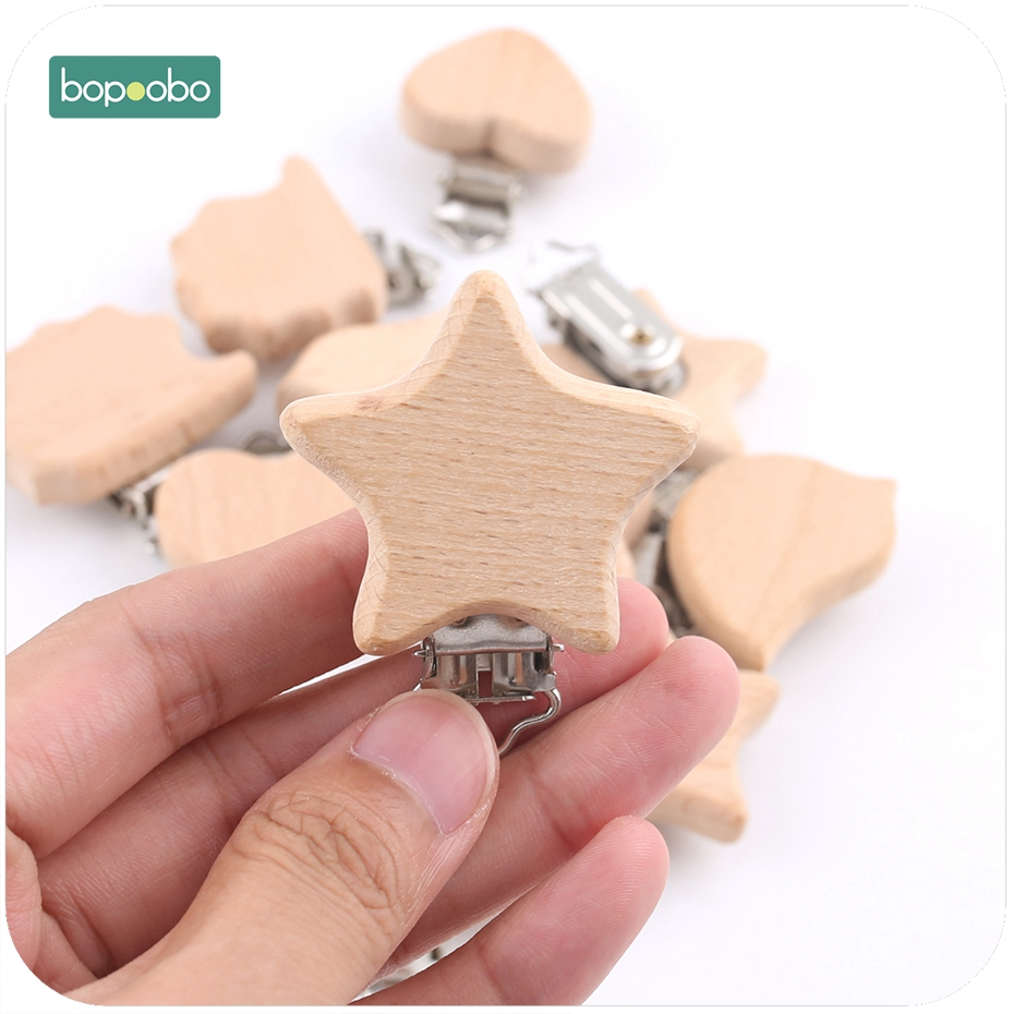 Bopoobo 4pc Natural Wooden Animal Pacifier Metal Clips Baby Accessories Food Grade Holder Heart Pacifier Wooden Baby Teether