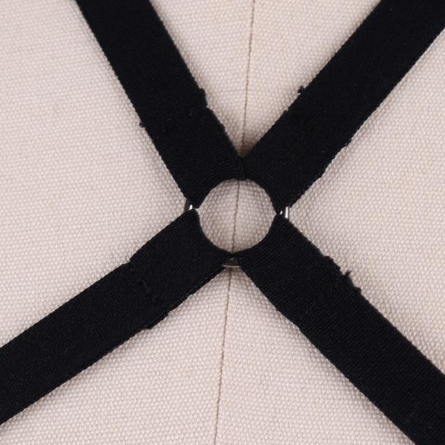 Sexy Women Open Chest Harness Bra Harajuku Adjustable Cupless Bondage Bra Fetsh Wear Crop Top Bondage Harness Decorations DS045