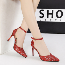 2019 new pumps for women sexy pointed shallow mouth high heels nightclub stiletto sequins shoes sapato feminino