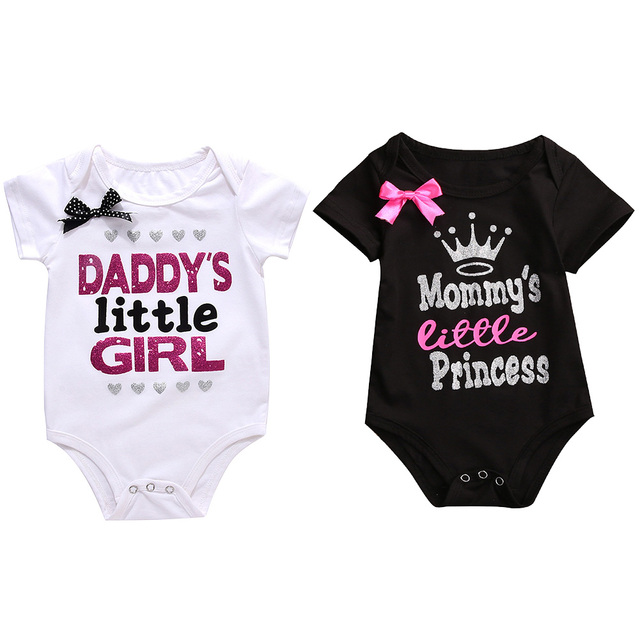 46cb545c3 2018 Daddy Little Girl Letter Cotton Newborn Infant Baby Girl Body Suit Romper  Jumpsuit Clothes Outfits Mommy Princess T-Shirts
