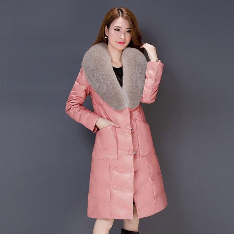 Fourrure 2018 Veste Cuir Black Manteau Feminino gray Pardessus pink Faux Renard Wuj0762 Col Casaco red Pu Européen Chaud De Costume Plus Taille Style En purple Femmes Femelle nrw6rqXa