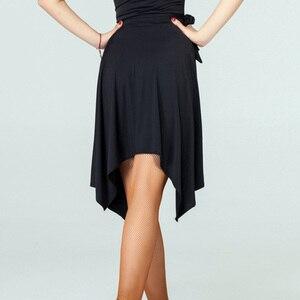 Image 2 - Saia de dança latina vermelha/preta irregular, saia cha/rumba/samba/tango vestidos para prática de dança/performamnce dancewear