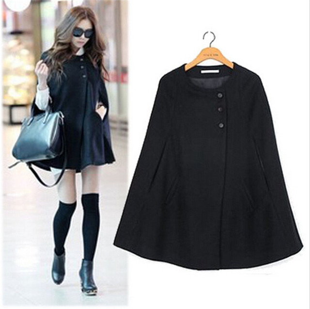 9444b85cf42 HOT SALE Korean Style Women Vintage Winter Jackets Single Breasted Black  Loose Ponchos Wool Cape Woolen Cloak Outerwear Coat SE
