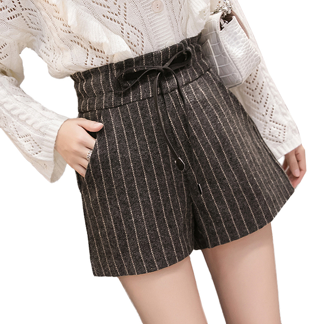 c2004a81138 England Style Winter Wool Shorts Women Streetwear Elastic High Waist Stripe Shorts  Plus Size Loose Shorts