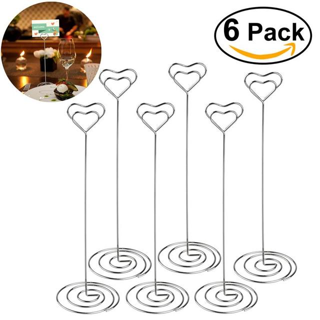 6pcs/Lot Place Card Holder Heart Shape Place Card Holder Table Number For Wedding Event Party Decoration