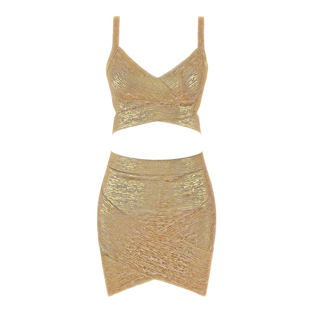 Gold Metallic Foil Mini Spaghetti Strap Elastic 2 Piece Set Sexy Girl Women 2019 New Bandage