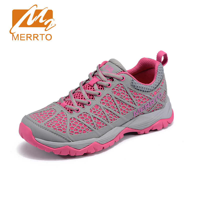 ФОТО 2017 Merrto Womens Outdoor Walking Sports Shoes Breathable Non-slip Travel Shoes For Female Black Red Free Shipping MT18665