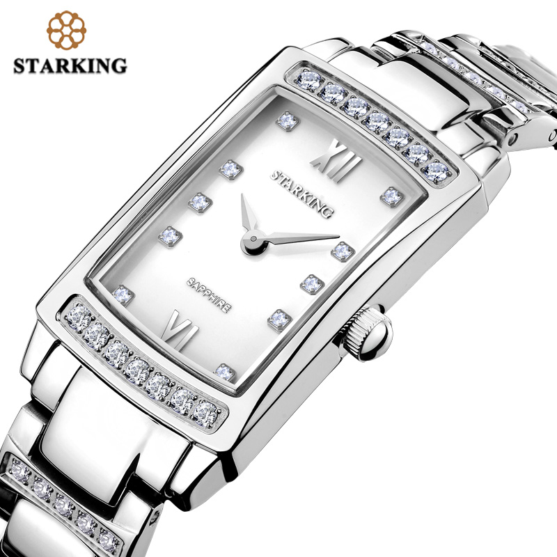 STARKING Fashion Casual Quartz Watch Women Full Steel Watches Simple Vintage White Sapphire Crystal Wristwatches Female Clock halei lovers watches crystal inlaid full steel quartz watch women men simple casual wristwatches silver clock calendar relojes