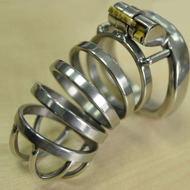 New lock cock ring cage stainless steel male chastity device penis cage cockring adult bdsm sex toys for men dick