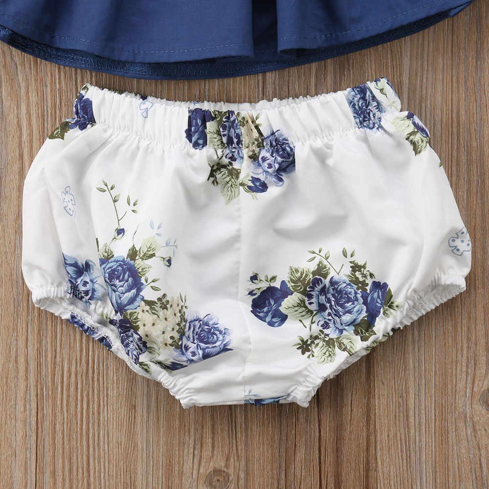 2 STUKS Pasgeboren Zomer 2019 Baby Meisje Kleding Mode Solid Ruffle Top + Bloemen Shorts Baby Meisje Set Casual Kerst baby Kleding