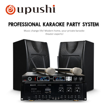 Oupushi Professional Big Wooden Speaker For Home Theater Karaoke Stage Background Music With Handheld Microphone