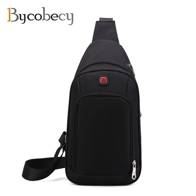 BYCOBECY Crossbody Bags For Men Messenger Chest Bag Pack Short Trip Casual Bag Waterproof Nylon Single Shoulder Strap Pack