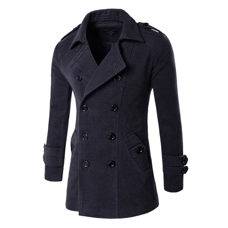 Mens 2017 Fashion Brand Overcoat Men Slim Fit Double-Breasted Trench Coat Outwear Winter ...