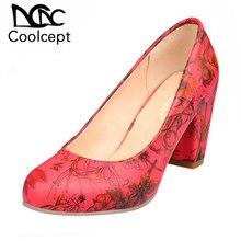 8b854368 Coolcept tamaño 31-43 de las mujeres de tacón alto zapatos de mujer  estampado de flores tacones bombas boda zapatos de las señor.
