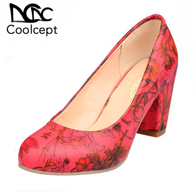 Coolcept Size 31-43 News Women High Heel Shoes Ladies Print Flower Heels Pumps Wedding Party Ladies Shoes Women Heeled Footwear
