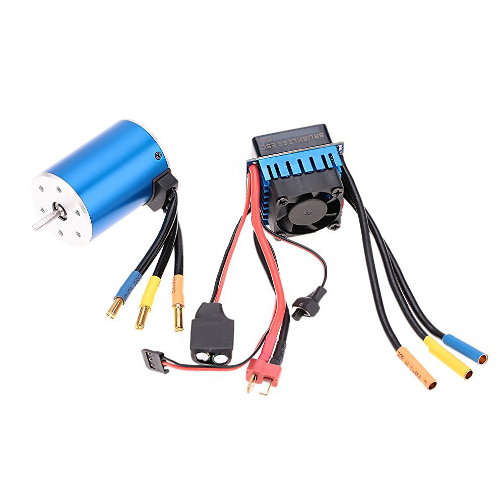 ABWE Best Sale 3650 3100KV/4P Sensorless Brushless Motor with 60A Brushless ESC Electric Speed Controller for 1/10 RC Car Truc 3650 3900kv 4p sensorless brushless motor 60a brushless elec speed controller esc w 5 8v 3a switch mode bec for 1 10 rc car