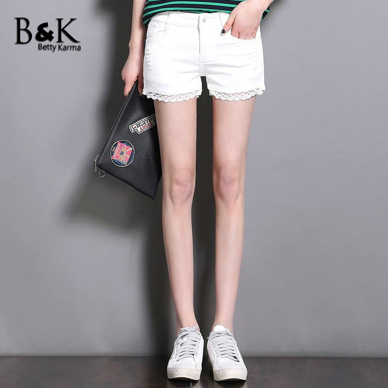 BettyKarma Jean Shorts Women Summer Sexy Lace Short Pants Ladies Casual Ripped Denim Jeans Shorts Fashion Straight Short Femme 2016 summer style fashion women s short pants lace ladies jeans denim shorts