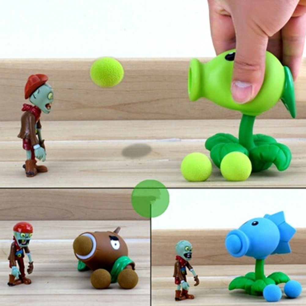 2017 PVZ Plants vs Zombies Peashooter PVC Action Figure Model Toy Gifts Toys For Childre ...