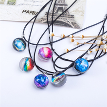 Collares Duplex Planet Crystal Stars Ball Glass Galaxy Pattern Leather Chain Pendants Maxi Necklace For Womem Girlfriend Gift