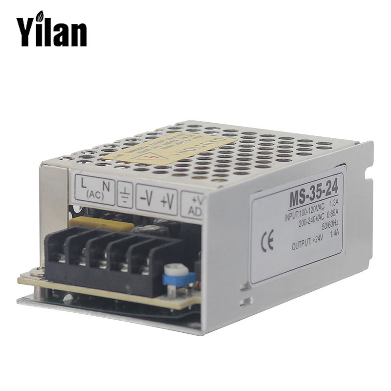 MS-35-24 Mini Size Steady CE Approved  Transformer 220V AC to 24V DC, Variable Power Supply 1.5amp Aluminium Case