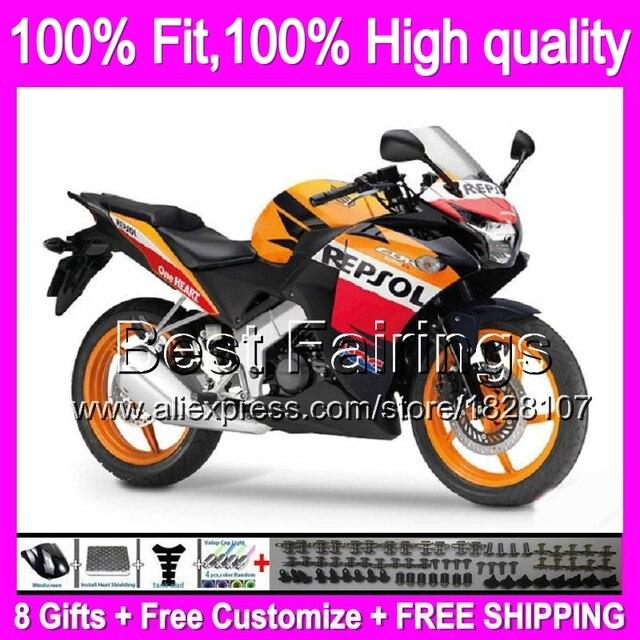 Carenage Repsol Rouge Pour Honda Injection Cbr250r Mc41 11 13 11b2 Orange Noir CBR 250R