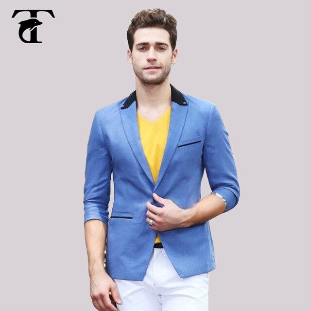 c332da22f9c 2017 Blazers Dla Mężczyzn Slim Fit dorywczo strój błękitny rozrywka Blazer  Niebieski Mens Kurtka Garnitur lato