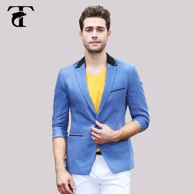 2017 Blazers para hombres slim fit casual traje azul cielo ocio chaqueta  azul chaqueta para hombre 0c29d54b606