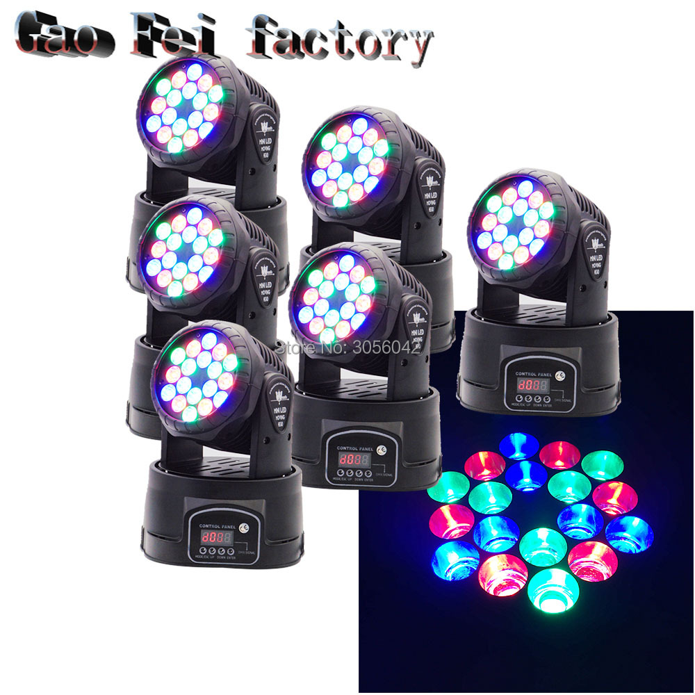 6pcs/lot LED Moving Head Wash Light 18x3W RGB Color DMX Stage Moving Heads6pcs/lot LED Moving Head Wash Light 18x3W RGB Color DMX Stage Moving Heads