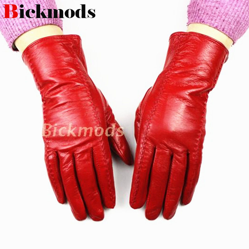 The New Female Leather Gloves Multicolor Sheepskin Velvet Lining Warm Autumn And Winter Special Price Promotions