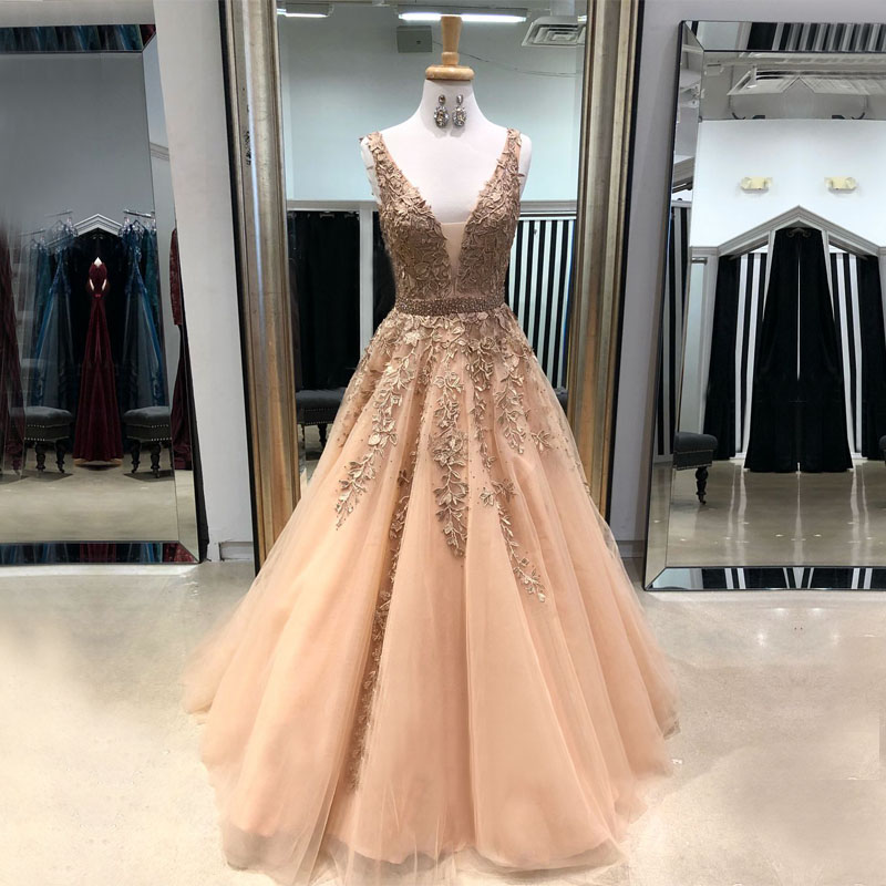 Long Stunning   Evening     Dress   2018 Sexy V-neck Sparkly Beaded Lace Backless Women African Formal   Evening   Gown robe de soiree